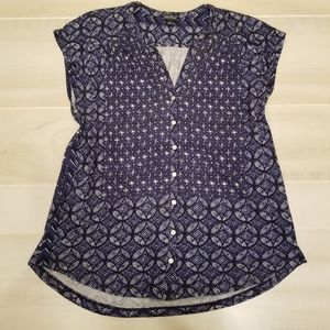 {L} Lucky Brand Navy Button Down Blouse